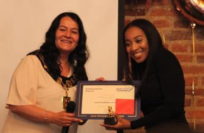 young resident receiving award from Enfield Mayor