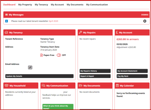 Picture of My Home tenant portal register page