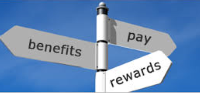 signs saying rewards, benefits and pay